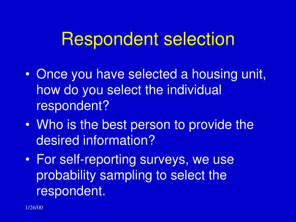 Respondent selection