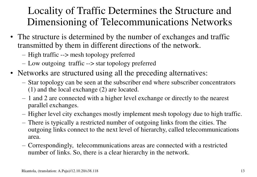 Locality of Traffic Determines the Structure and Dimensioning of Telecommunications Networks