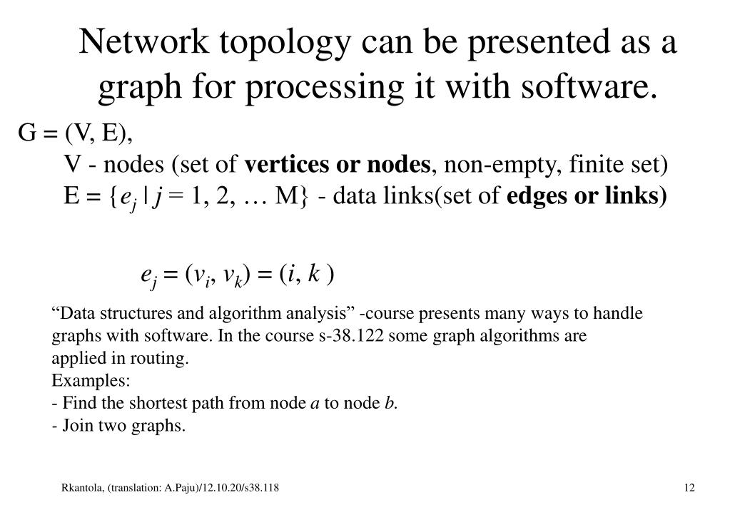 Network topology can be presented as a graph for processing it with software.