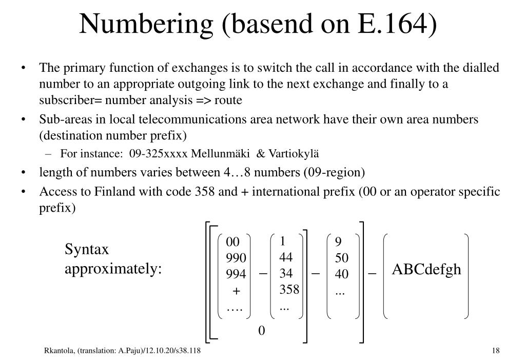 Numbering (basend on E.164)