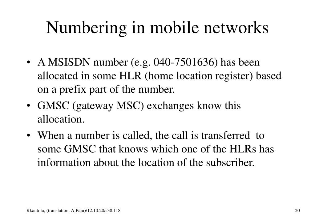 Numbering in mobile networks