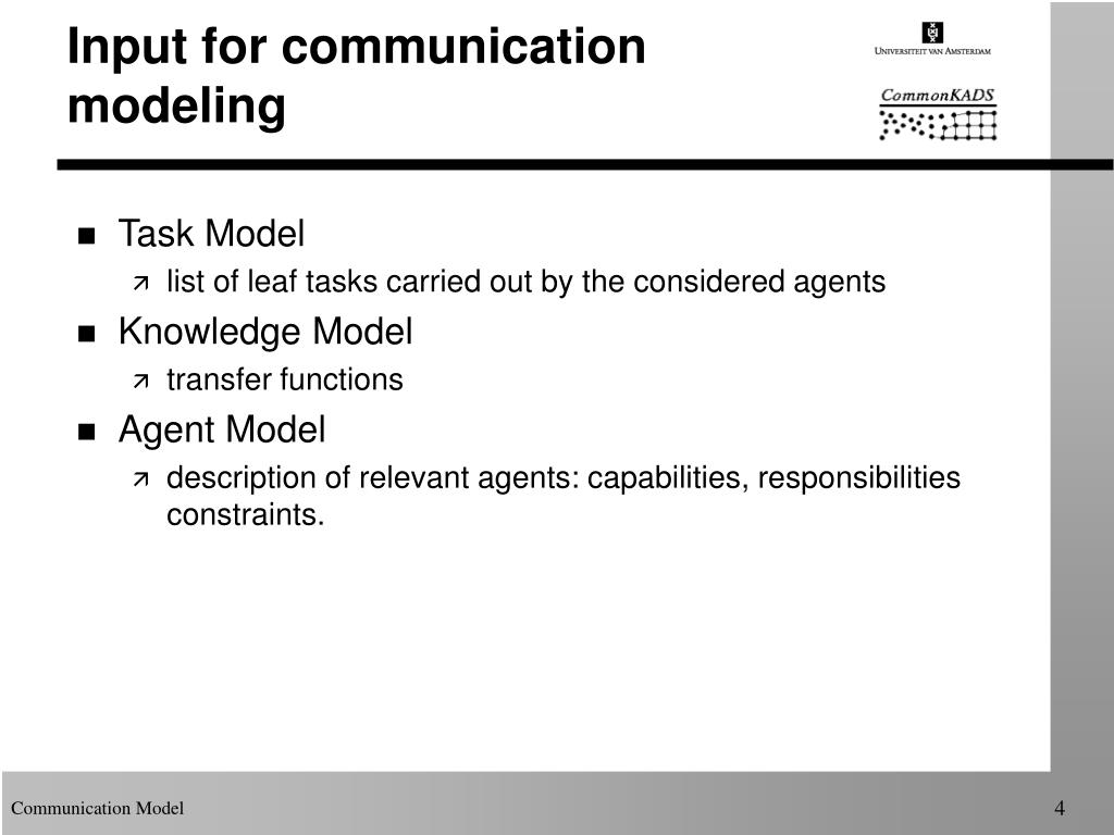 Input for communication modeling