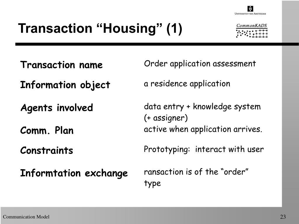 """Transaction """"Housing"""" (1)"""