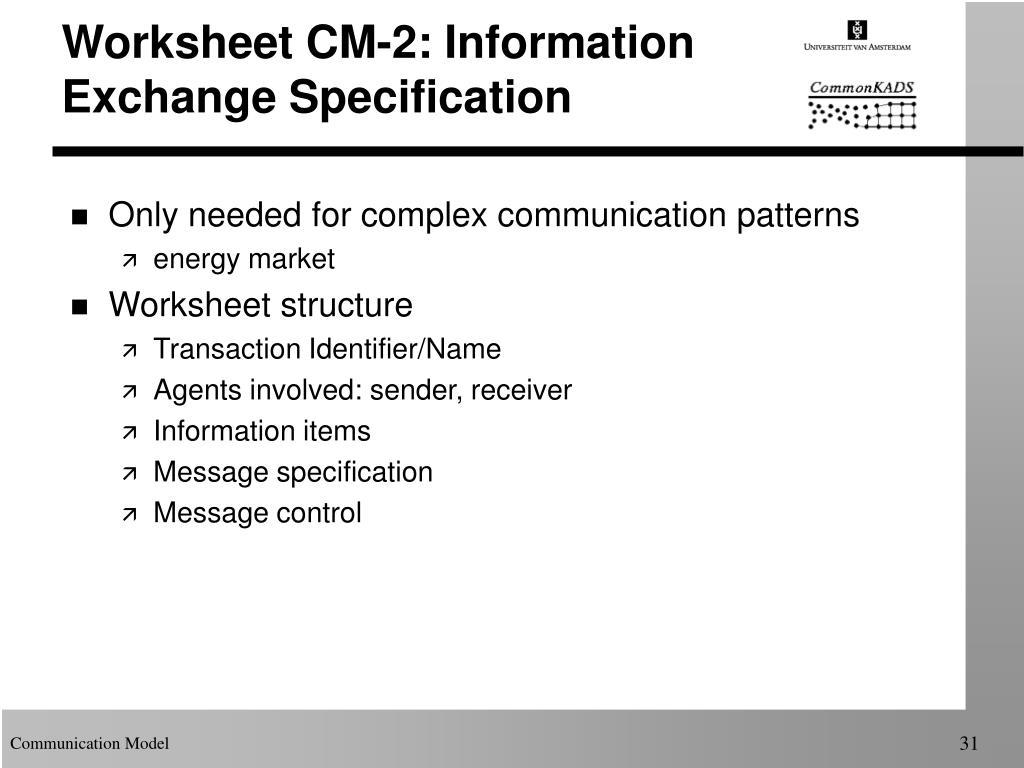Worksheet CM-2: Information Exchange Specification