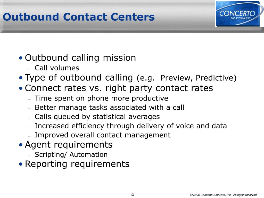 Outbound Contact Centers