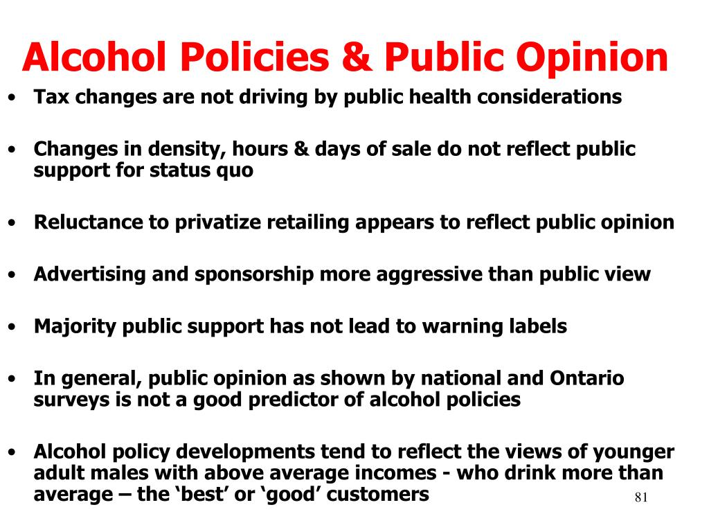 Alcohol Policies & Public Opinion