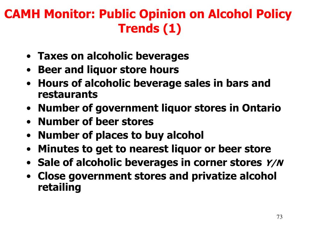 CAMH Monitor: Public Opinion on Alcohol Policy