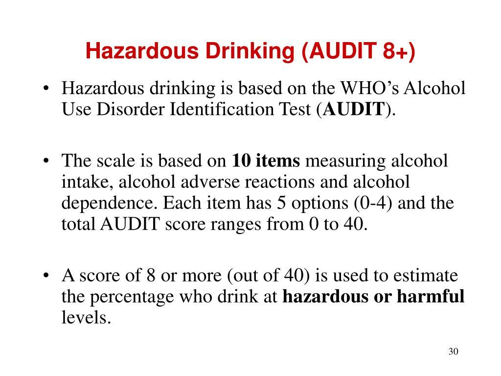 Hazardous Drinking (AUDIT 8+)