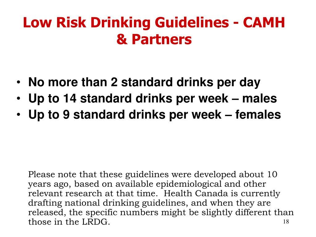 Low Risk Drinking Guidelines - CAMH & Partners