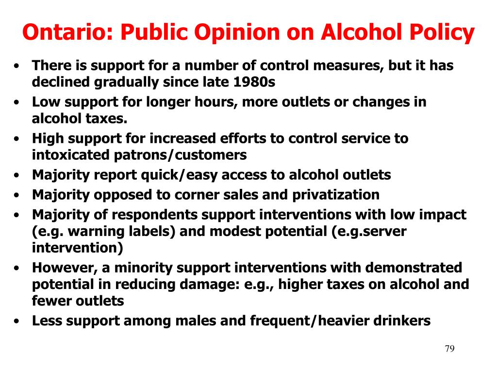 Ontario: Public Opinion on Alcohol Policy