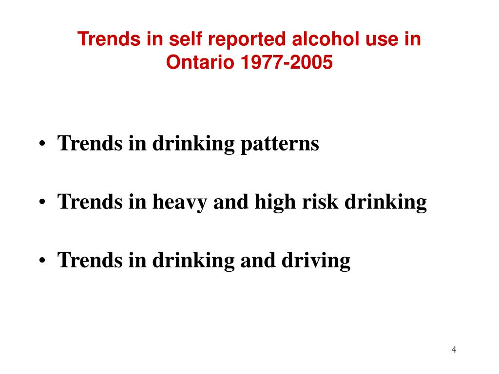 Trends in self reported alcohol use in Ontario 1977-2005