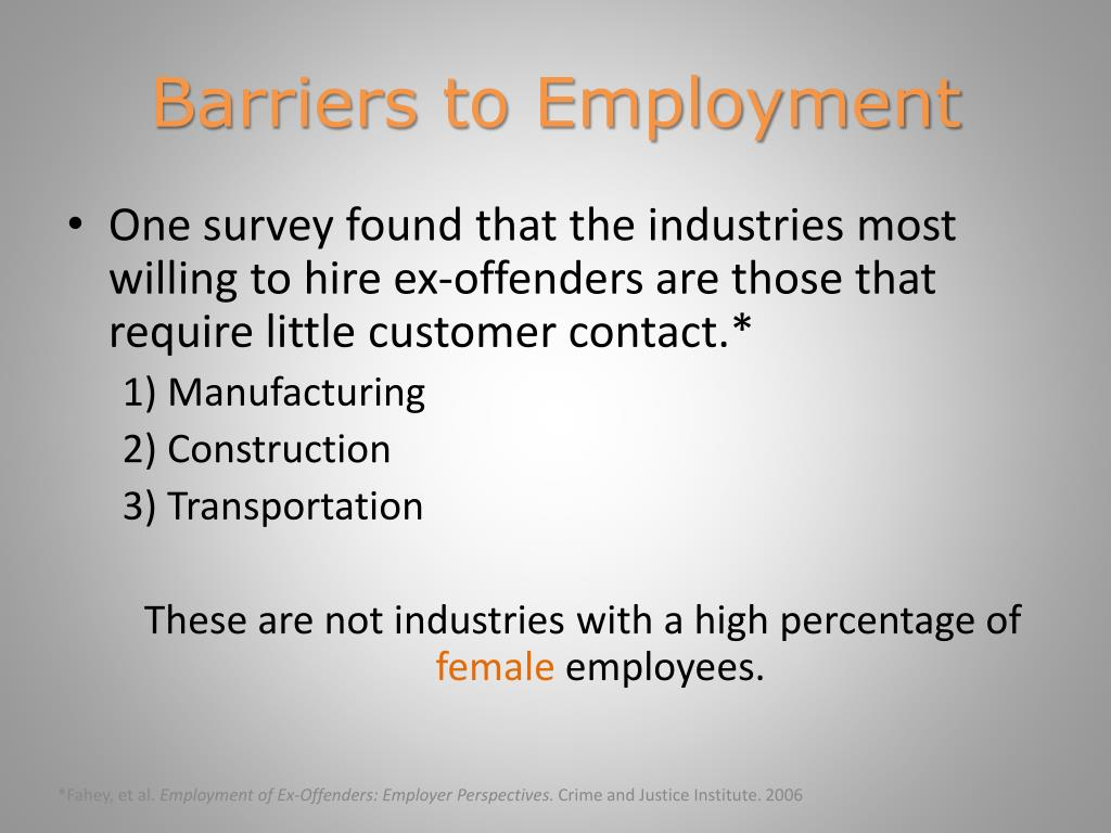 barriers for ex offenders housing and employment Survey reveals barriers to successful ex-offender re-entry  such as employment, housing, and sometimes even obtaining student loans and voting are limited by.