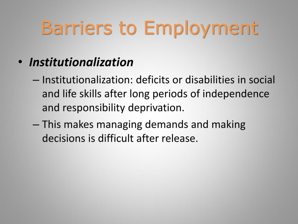 employment barriers of ex offenders essay To reduce recidivism, states scrap barriers for ex-offenders  some states have sought to improve the job prospects of ex-offenders by sealing criminal records, .