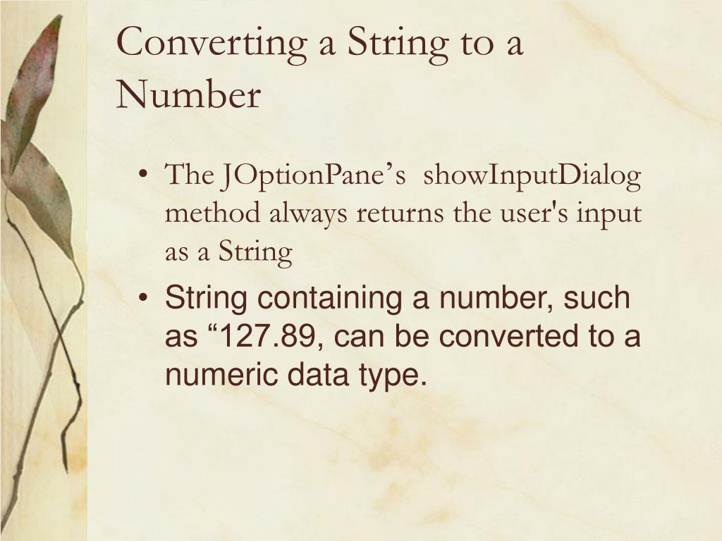 Converting a String to a Number