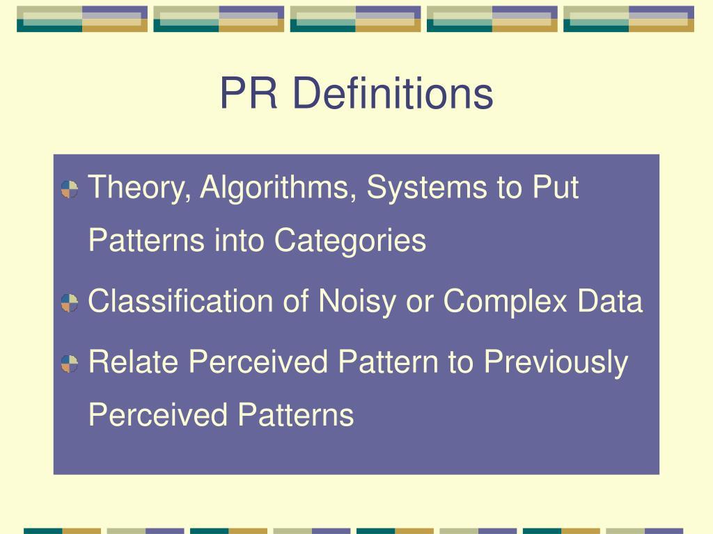 PR Definitions