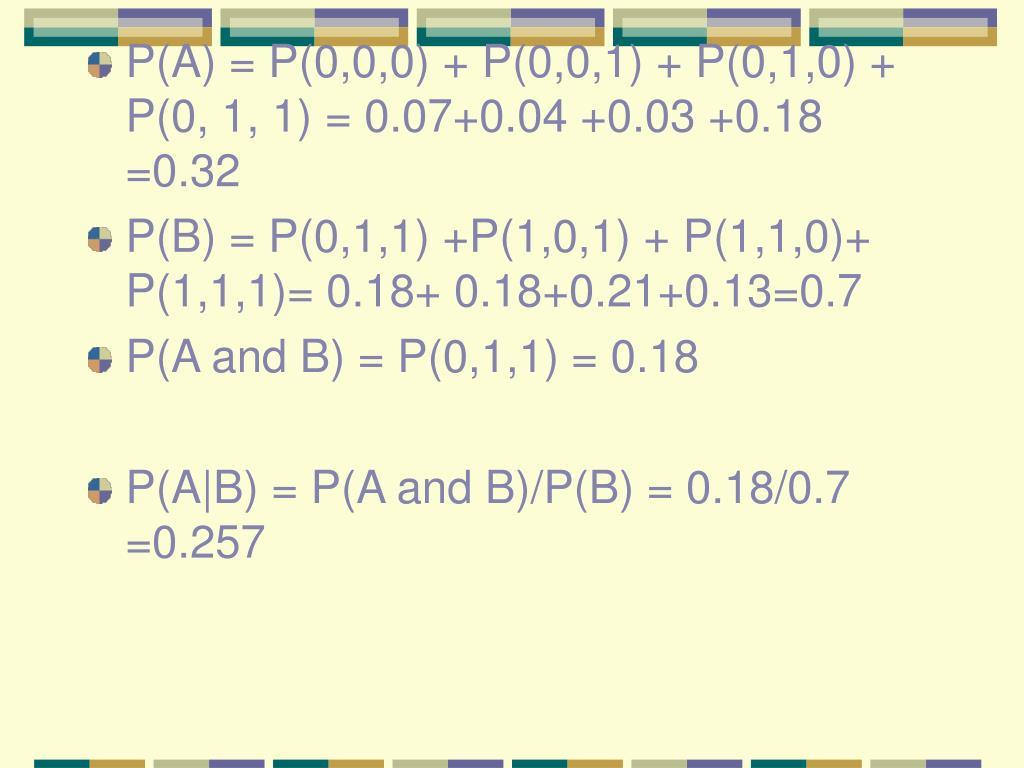 P(A) = P(0,0,0) + P(0,0,1) + P(0,1,0) + P(0, 1, 1) = 0.07+0.04 +0.03 +0.18 =0.32