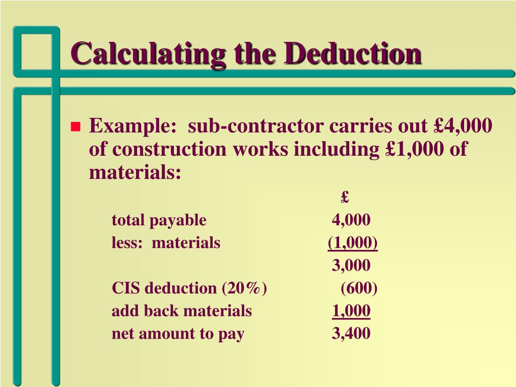 Calculating the Deduction