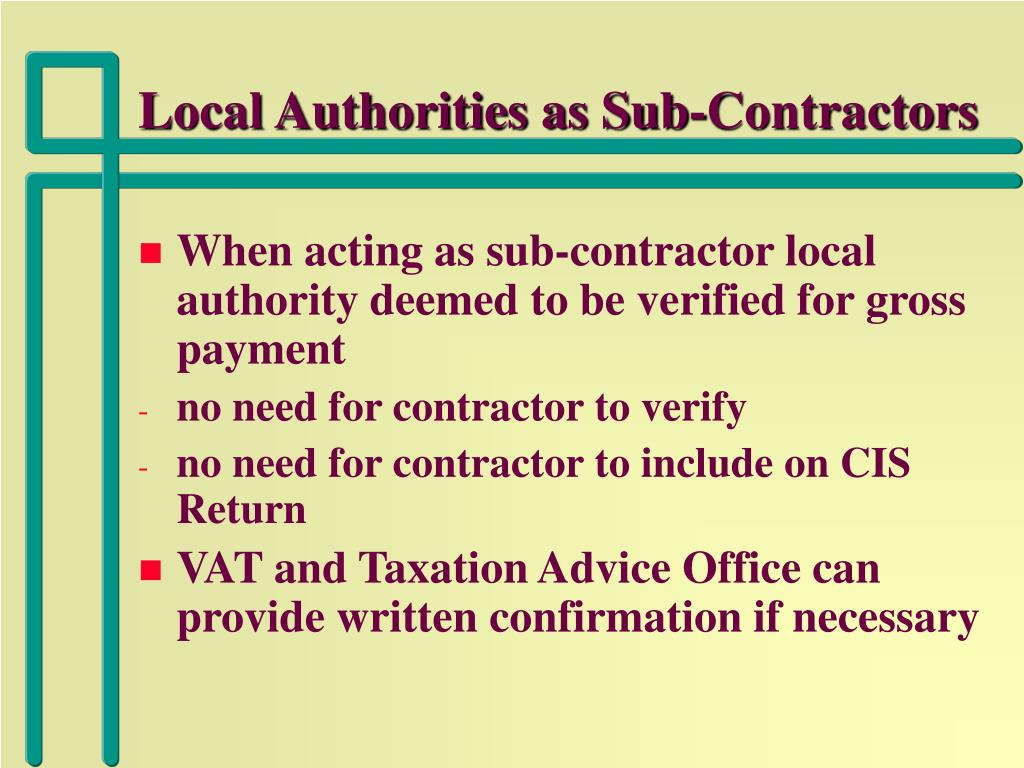 Local Authorities as Sub-Contractors