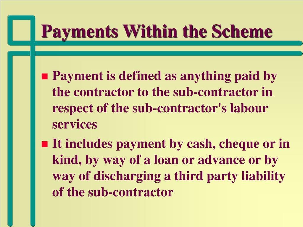 Payments Within the Scheme