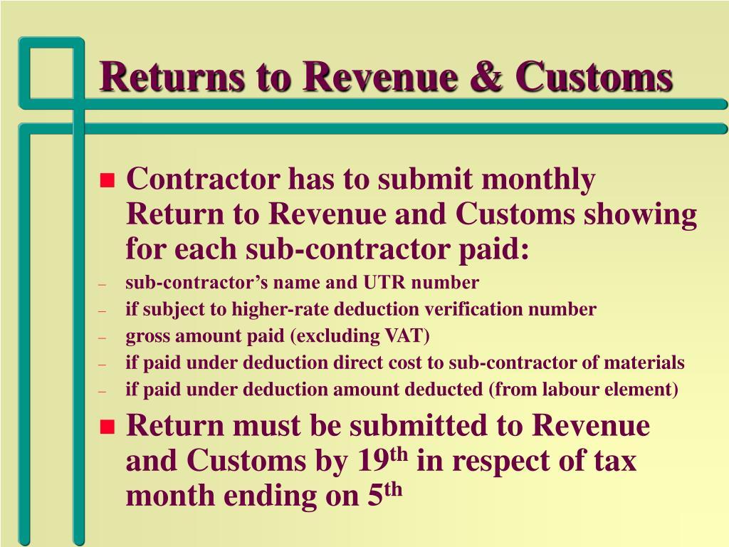 Returns to Revenue & Customs