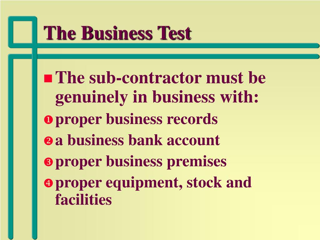 The Business Test
