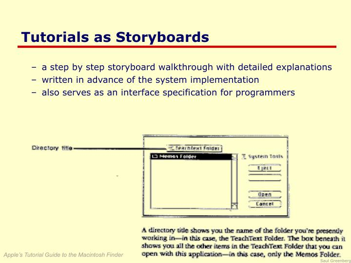 Tutorials as Storyboards