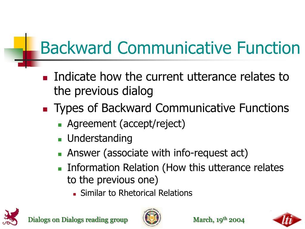 Backward Communicative Function