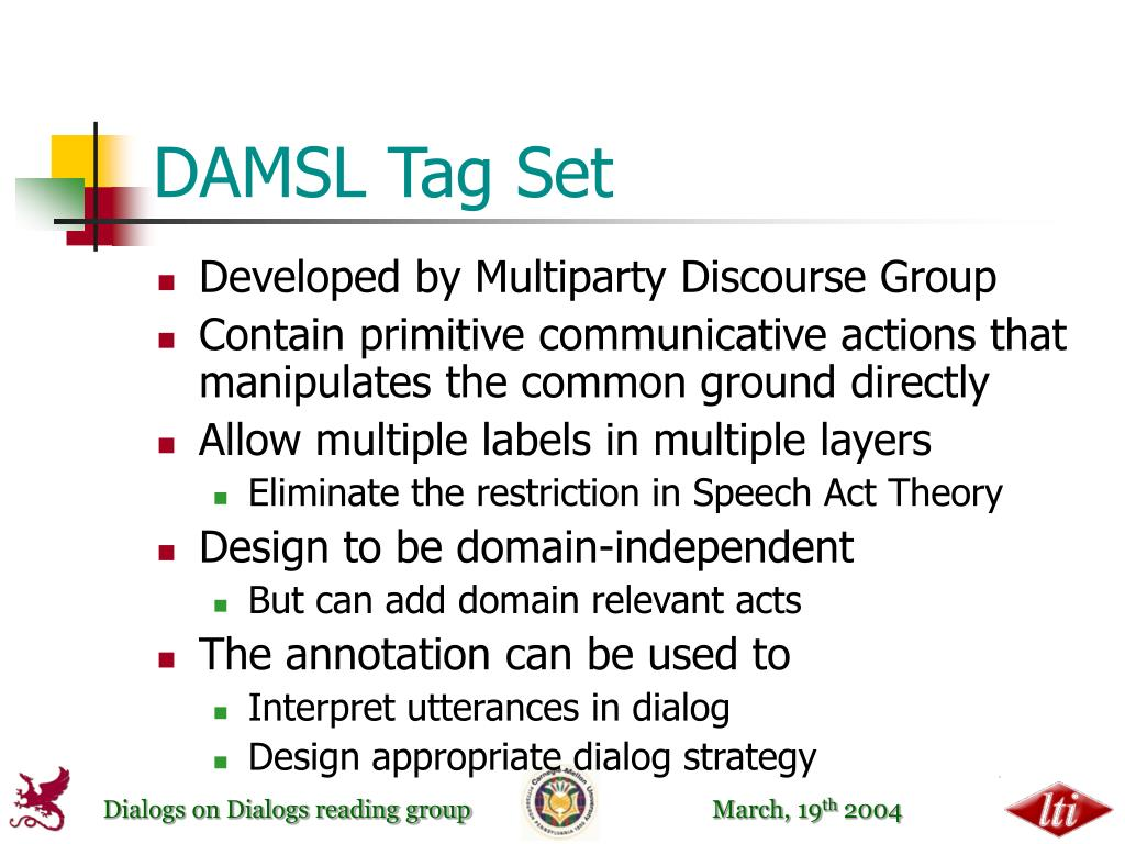DAMSL Tag Set