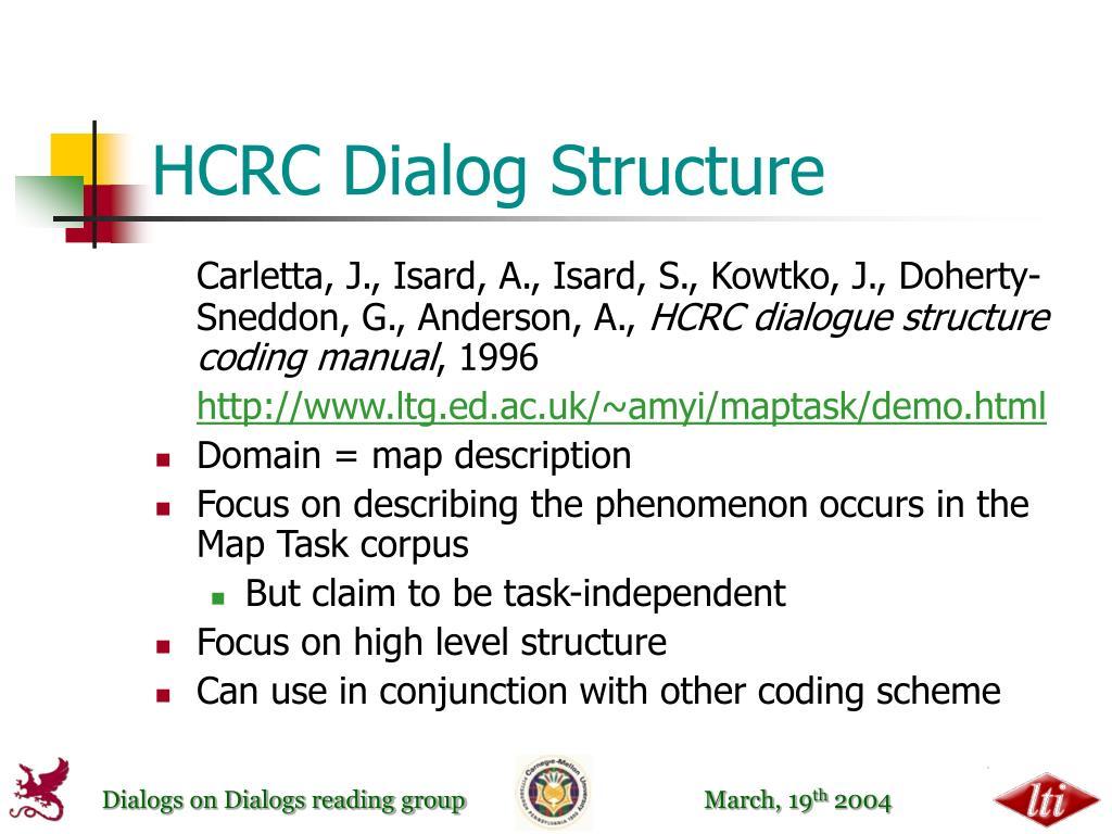 HCRC Dialog Structure