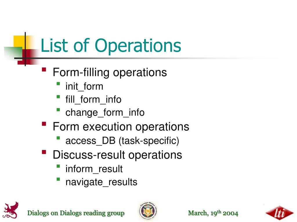 List of Operations
