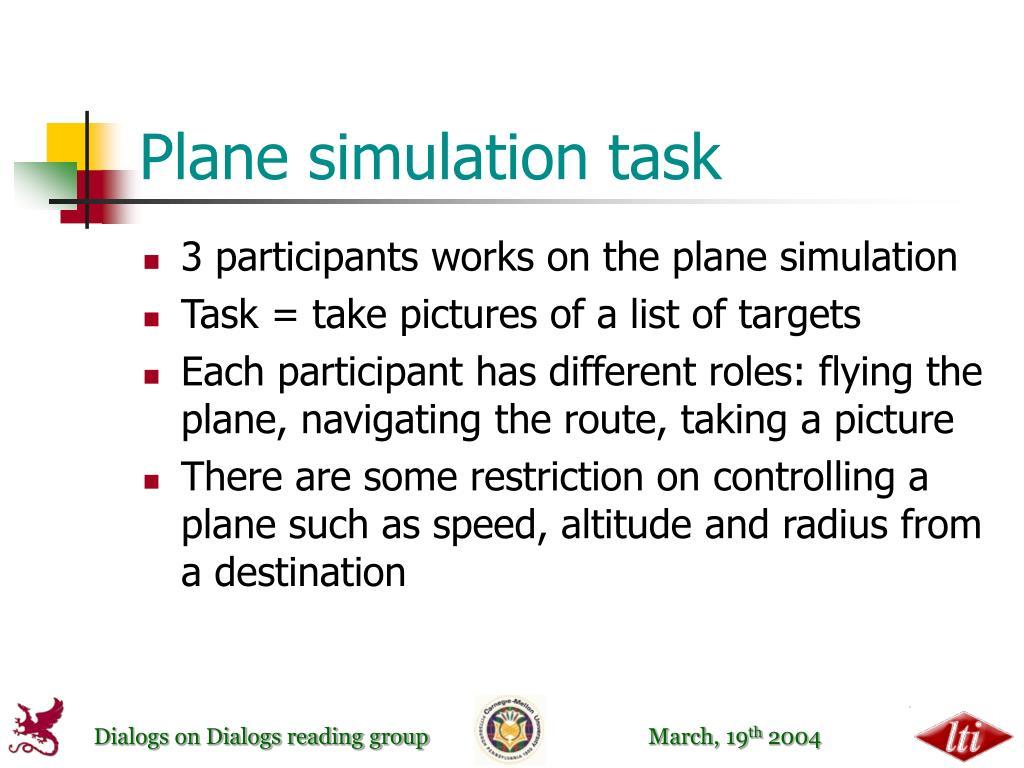 Plane simulation task