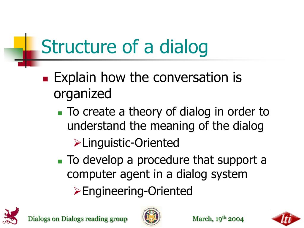 Structure of a dialog