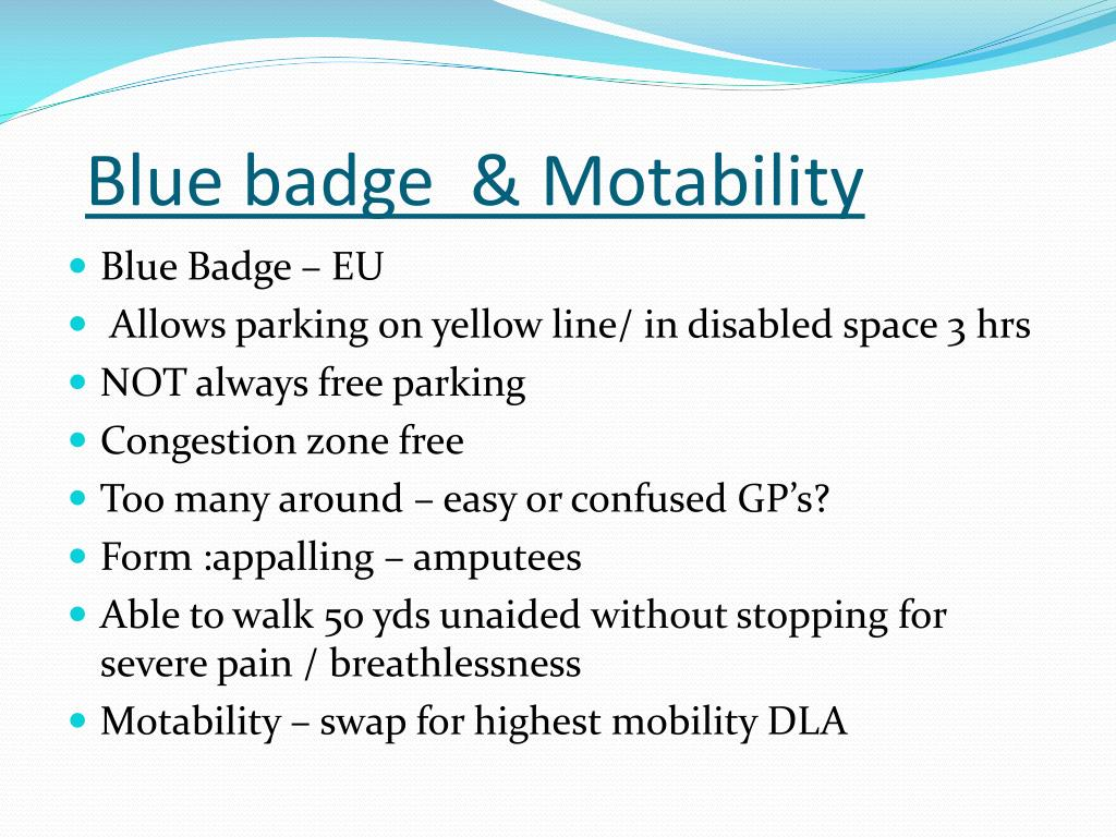 Blue badge  & Motability