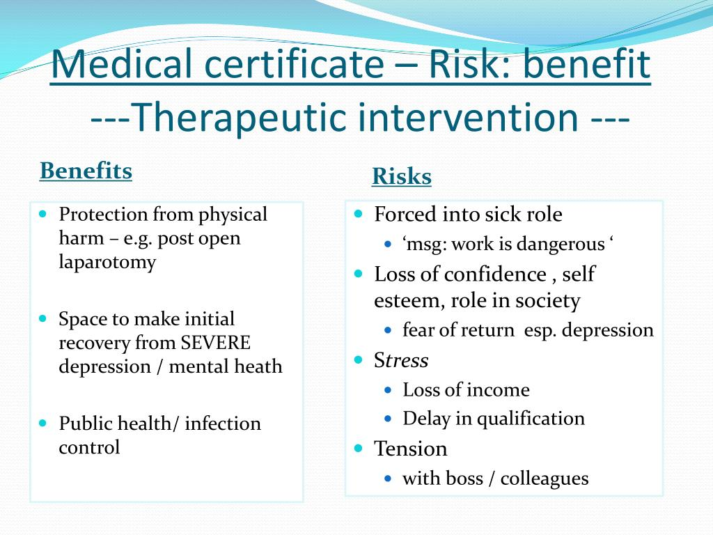 Medical certificate – Risk: benefit
