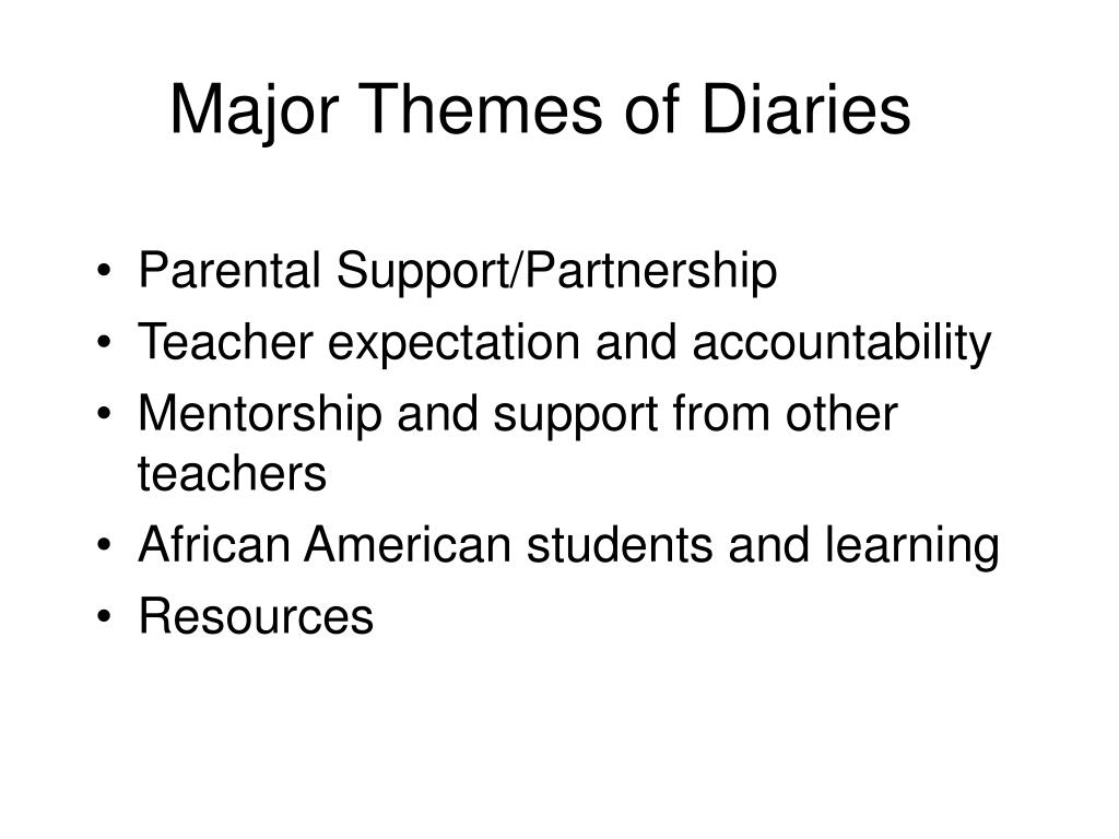 Major Themes of Diaries