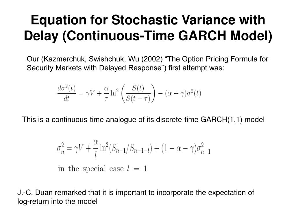 Equation for Stochastic Variance with Delay (Continuous-Time GARCH Model)