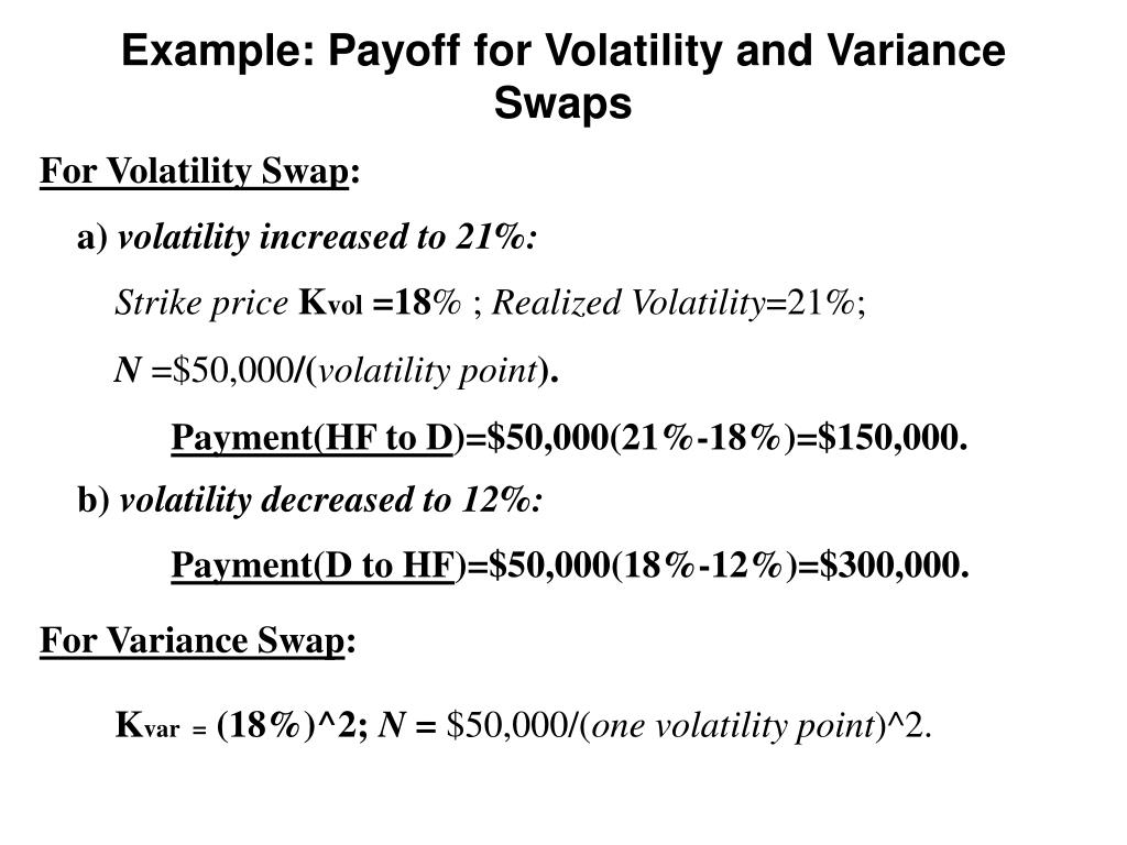 Example: Payoff for Volatility and Variance Swaps