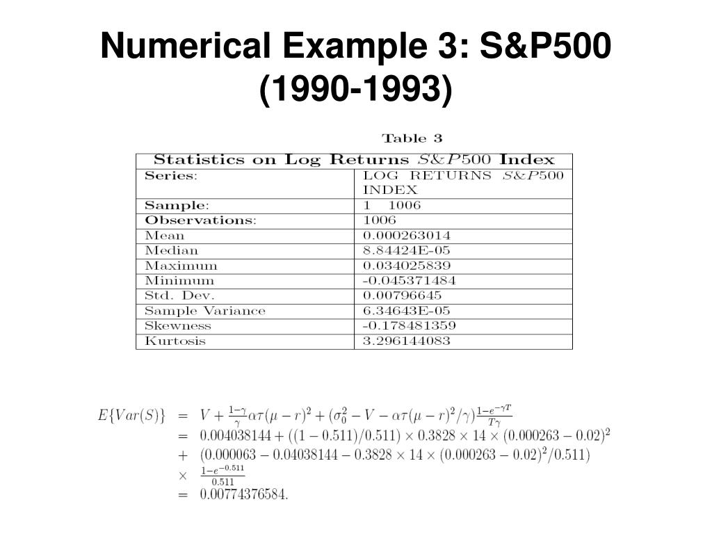 Numerical Example 3: S&P500