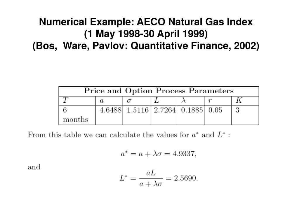 Numerical Example: AECO Natural Gas Index