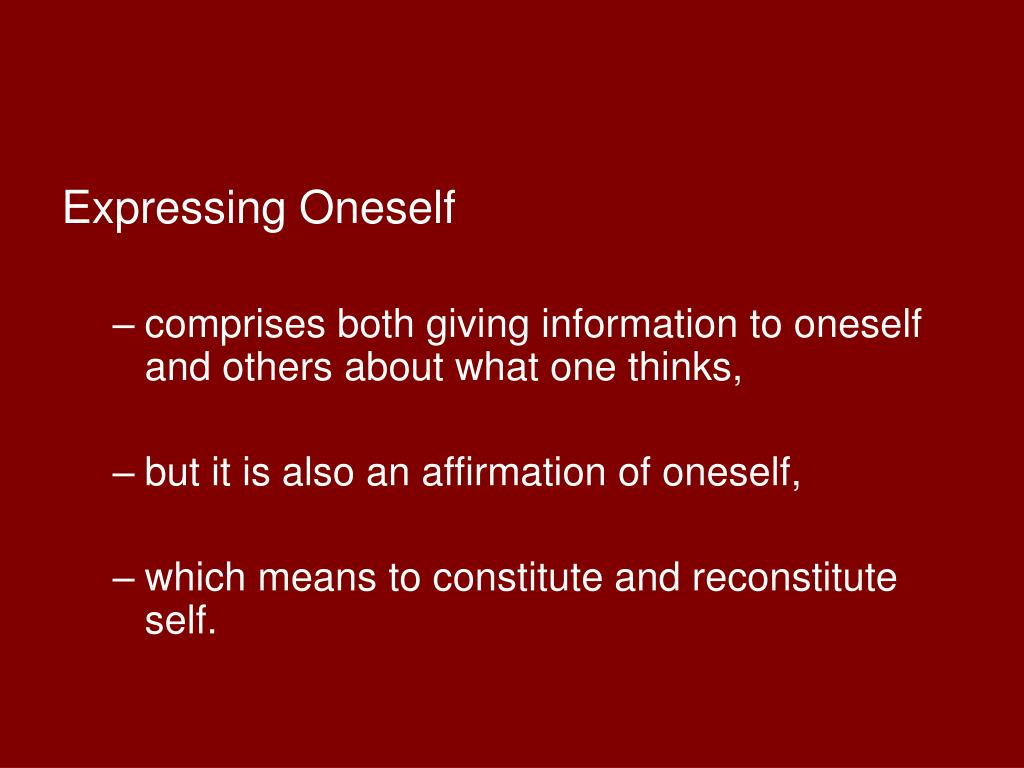 Expressing Oneself