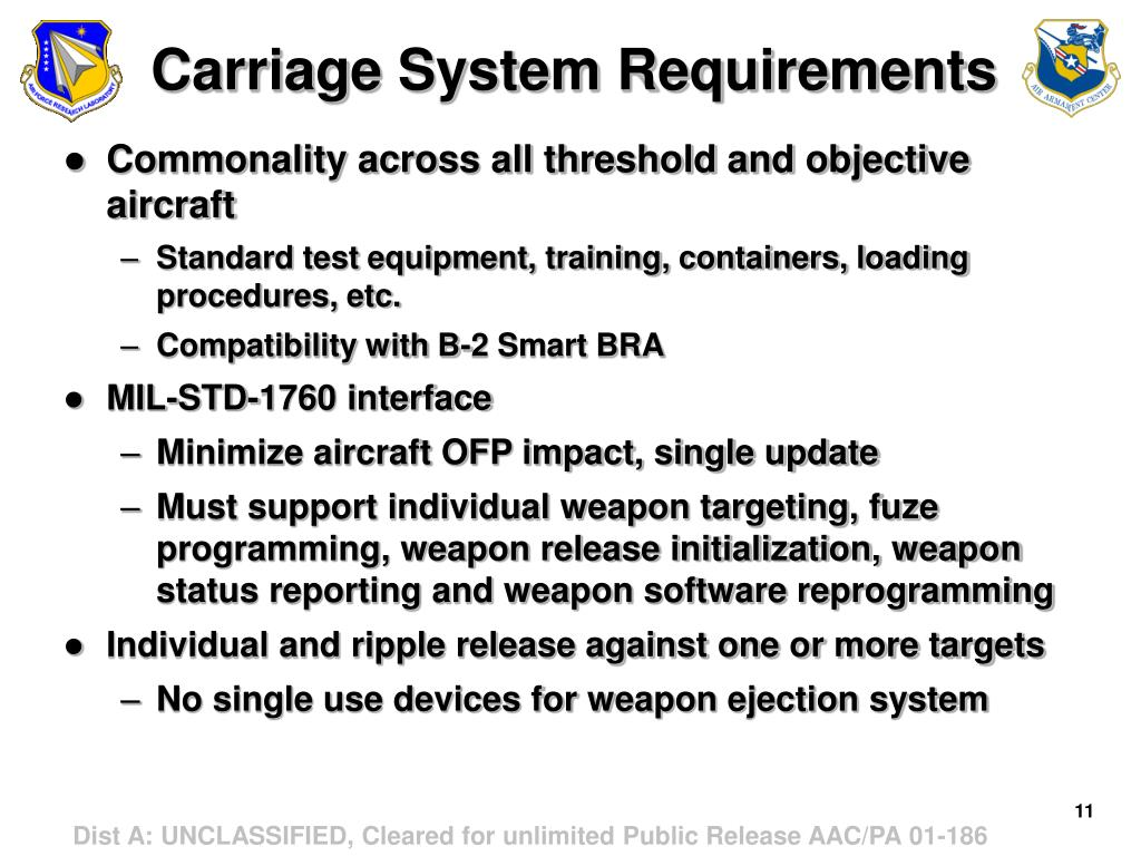 Carriage System Requirements