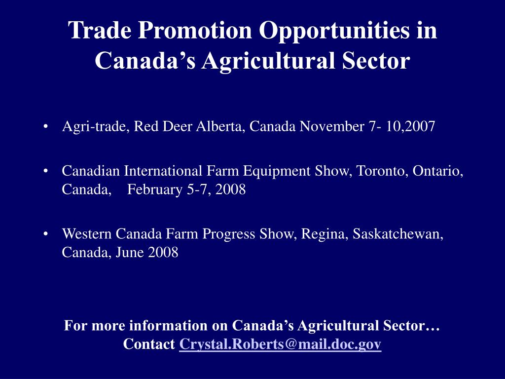 Trade Promotion Opportunities in Canada's Agricultural Sector