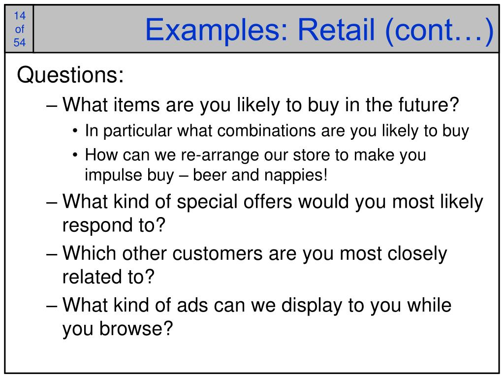 Examples: Retail (cont…)