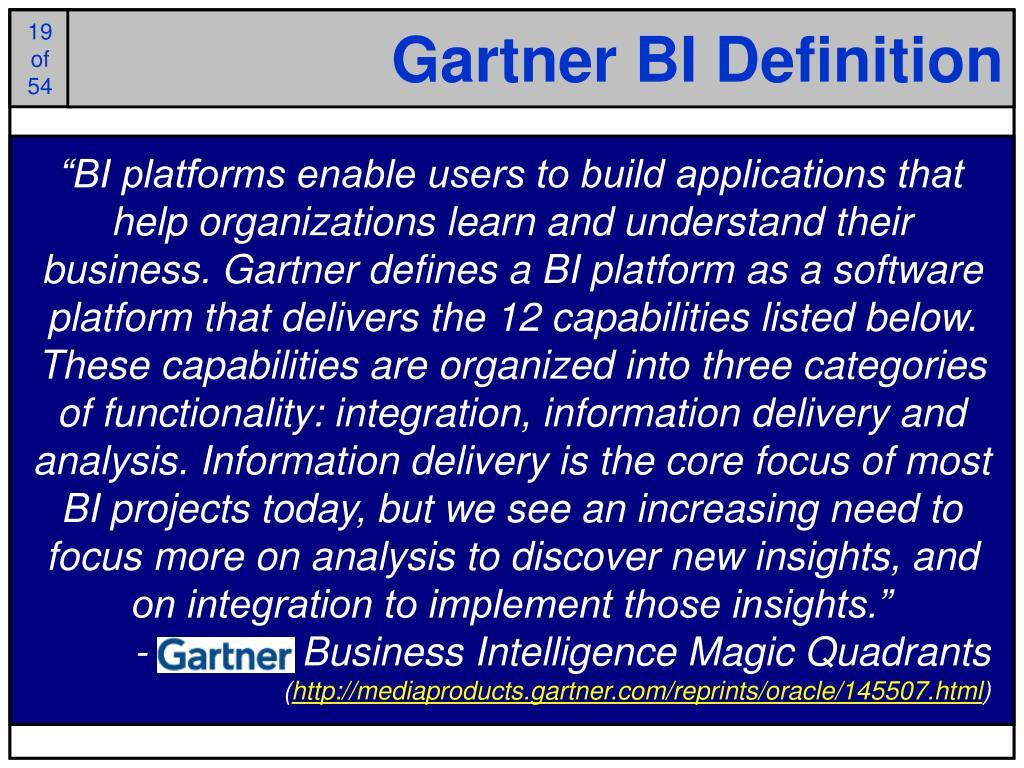 Gartner BI Definition
