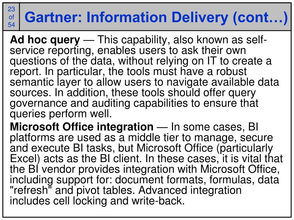 Gartner: Information Delivery (cont…)