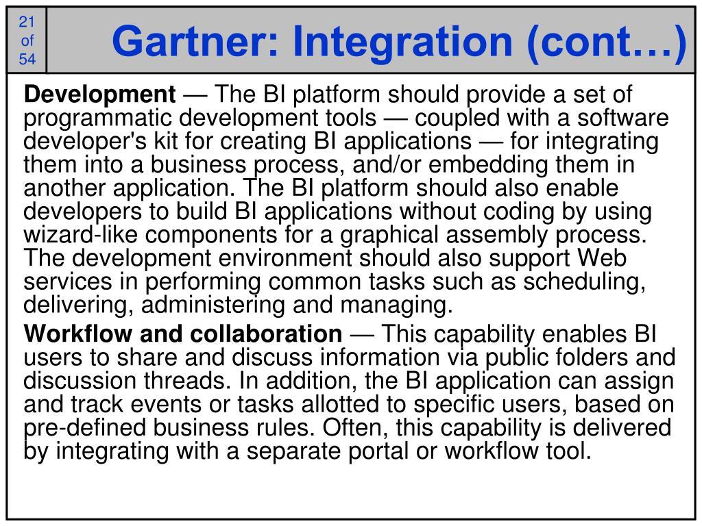 Gartner: Integration (cont…)