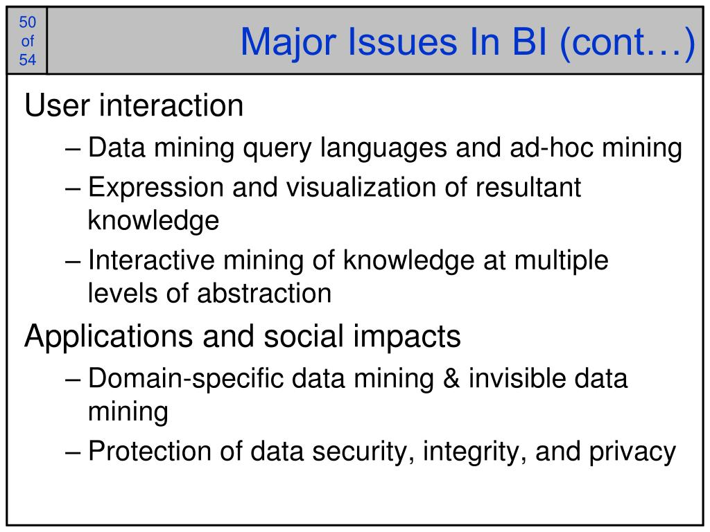 Major Issues In BI (cont…)