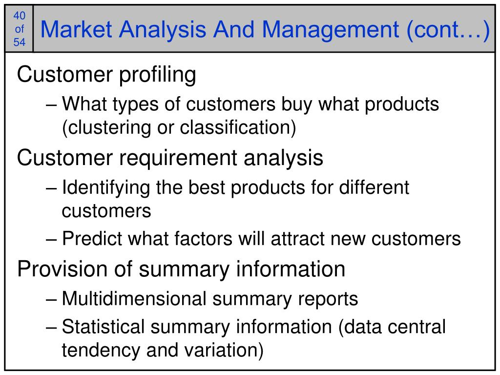 Market Analysis And Management (cont…)