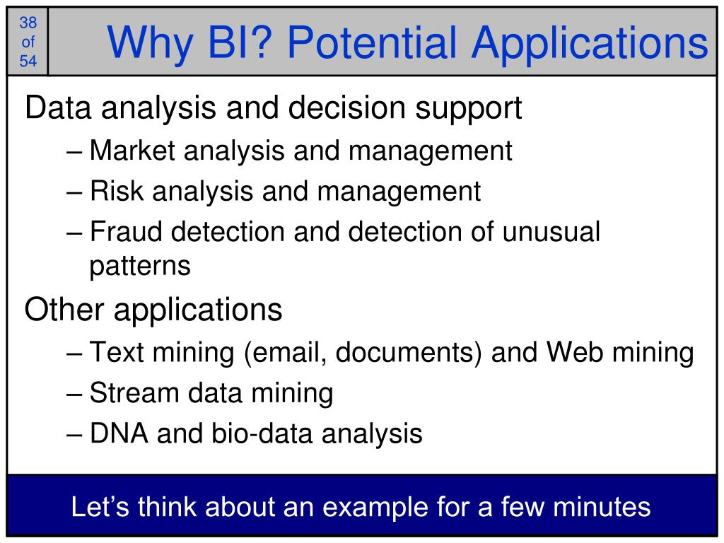 Why BI? Potential Applications