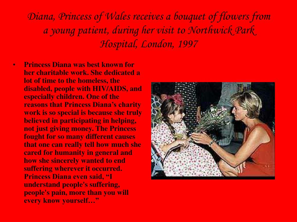 Diana, Princess of Wales receives a bouquet of flowers from a young patient, during her visit to Northwick Park Hospital, London, 1997